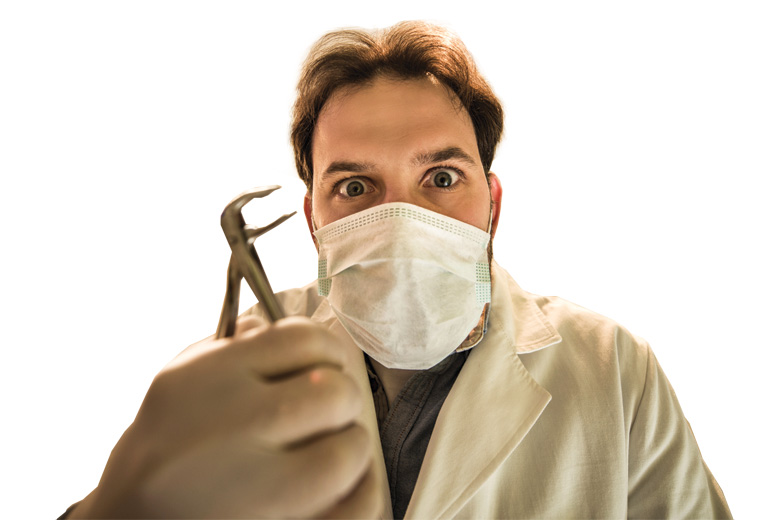Creepy-looking male dentist holding pliers