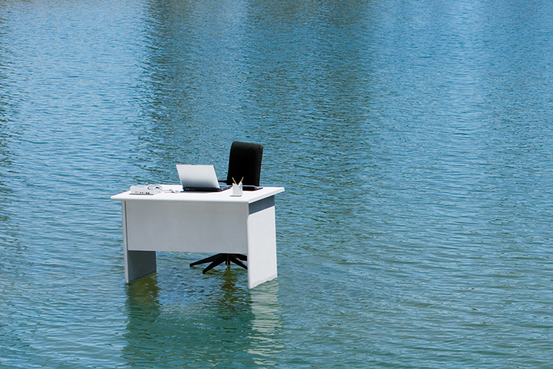 Desk in water