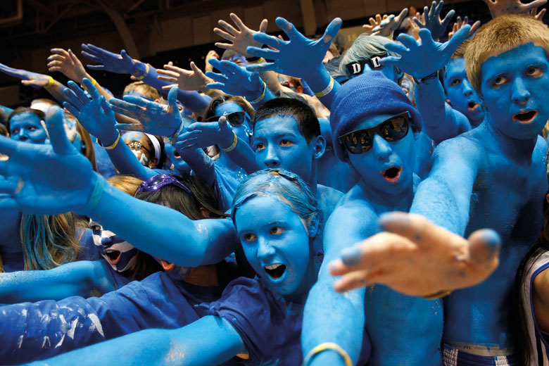 University sports fans painted blue