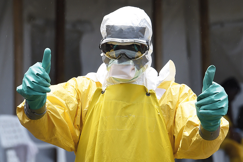 Ebola doctor giving thumbs up