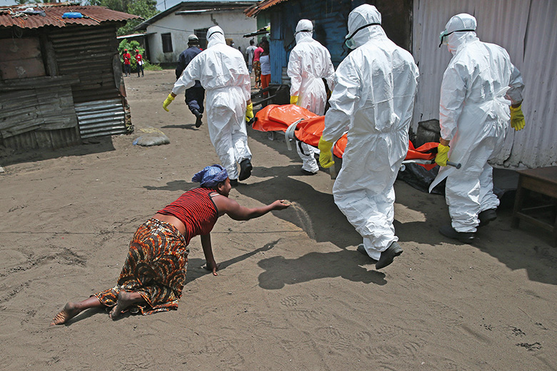 Ebola doctors with stretcher