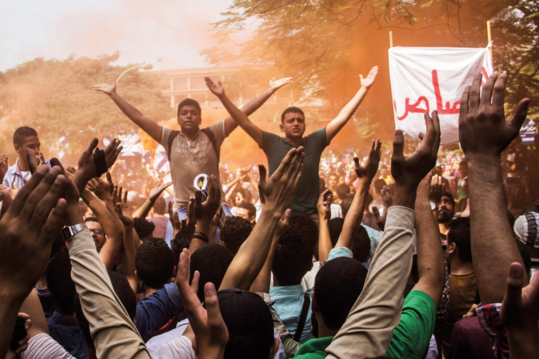Egyptian students chant during protest, Cairo, Egypt