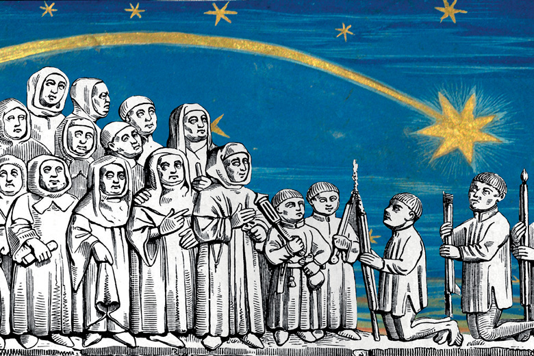 European Union (EU) stars above group of people praying