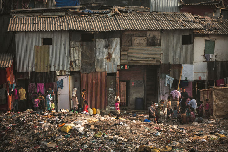 Families living in slums of Dharavi, Mumbai