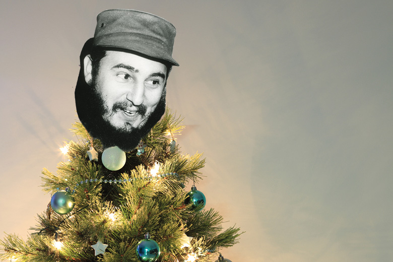 Fidel Castro mask on top of Christmas tree