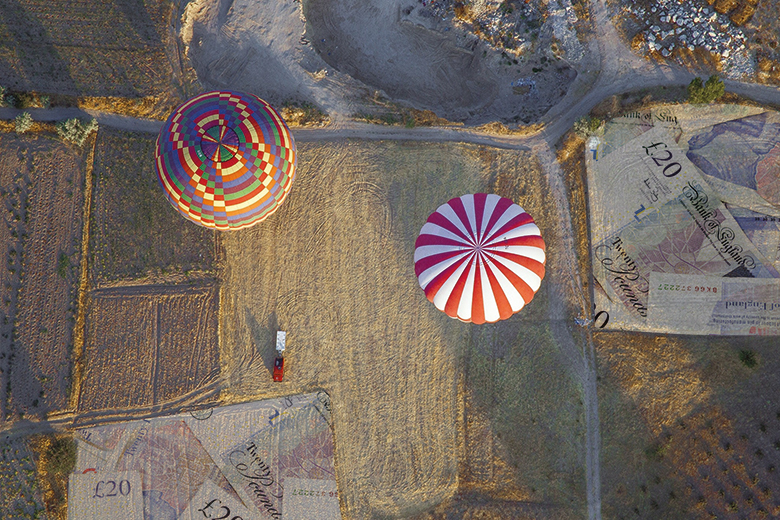 Hot air balloons above a field