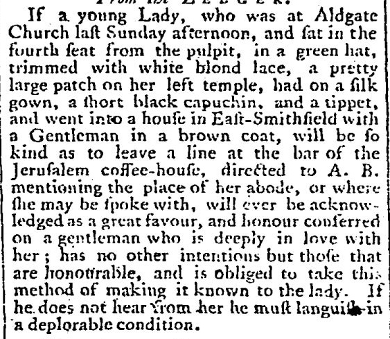 Extract from Lloyd's Evening Post 1761