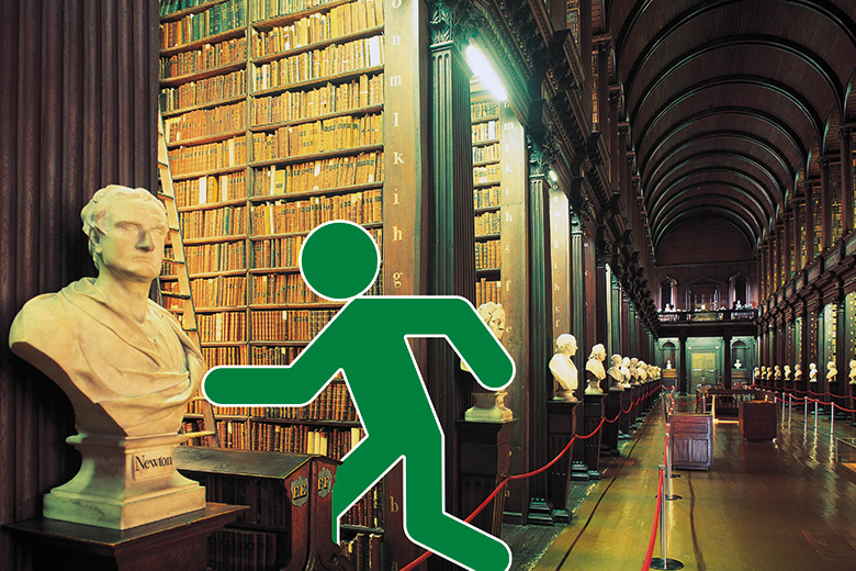 Green man in library