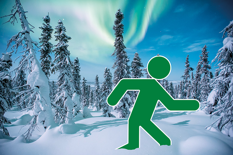 Green man running through snow