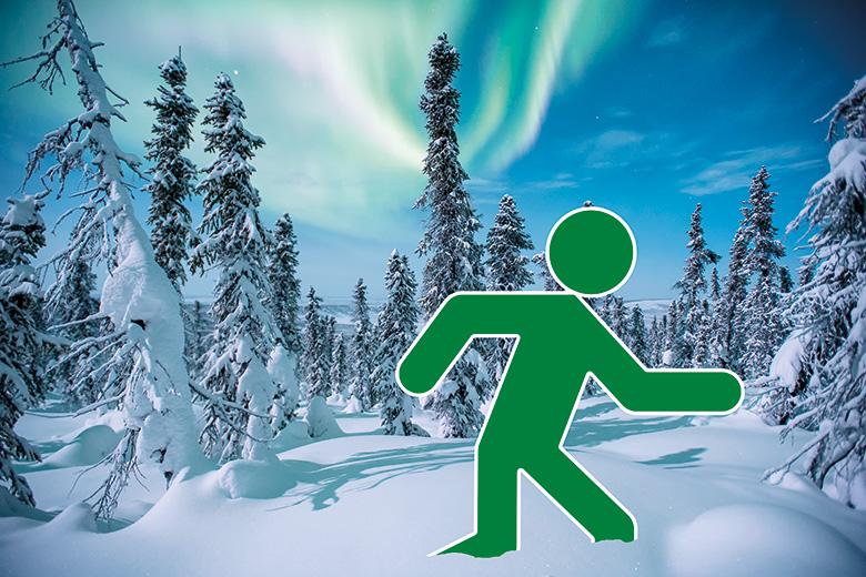 Green man running through snow