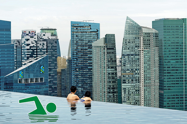 Green man swimming in pool above city skyline
