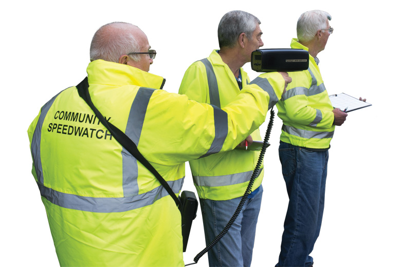 Group of men forming community speed check team