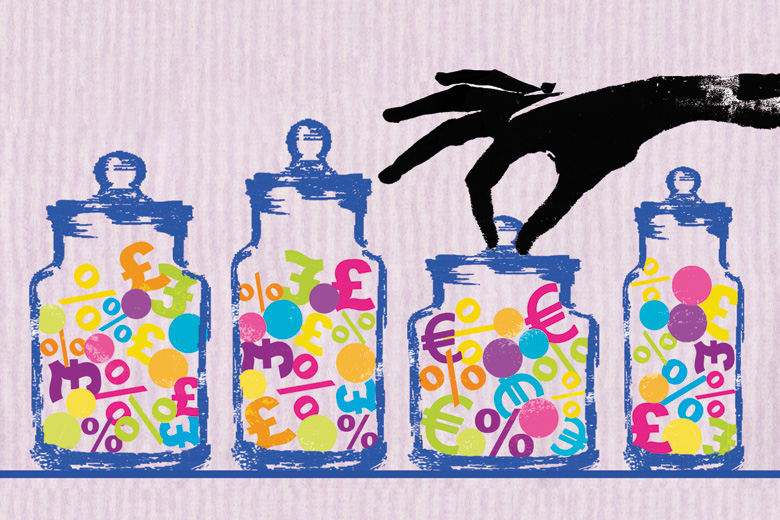 Hand opening candy jars full of currency symbols