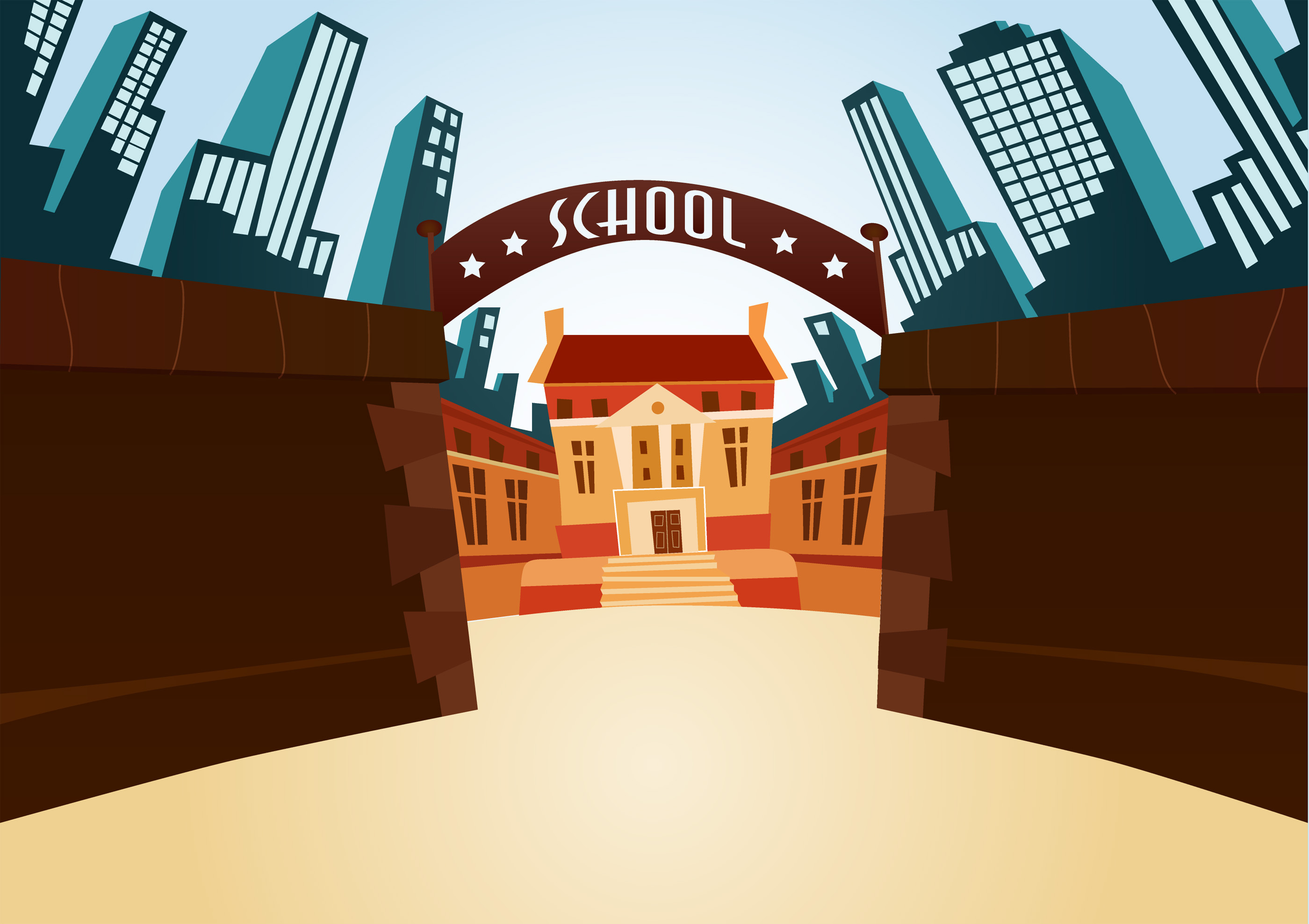 Illustration of school gates