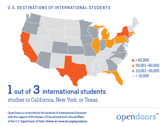 US Universities With The Most International Students Times - Us map with universities