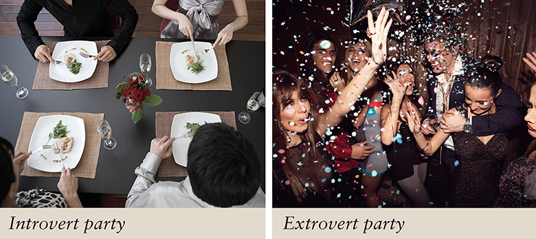 Introvert party versus extrovert party