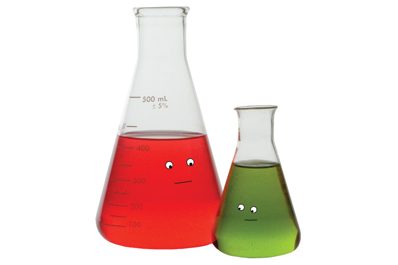 Laboratory beakers showing smiling faces