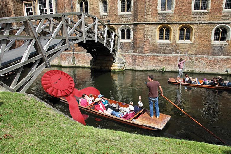 Labour rosette punting in Cambridge