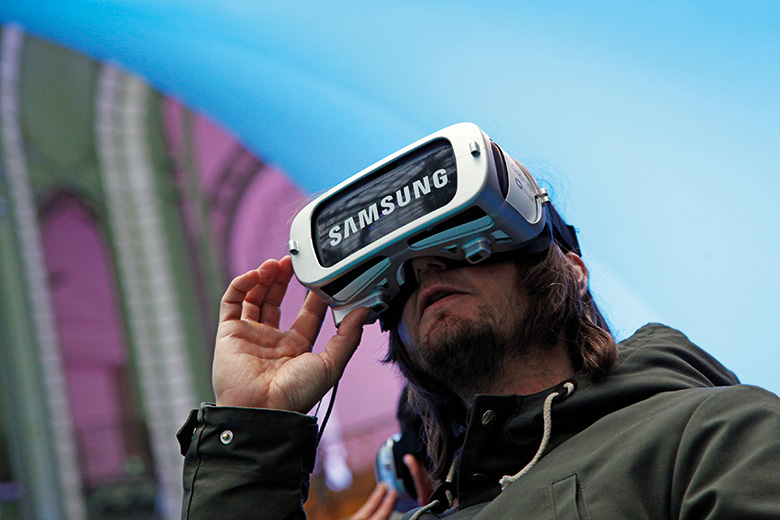 Man with Samsung VR