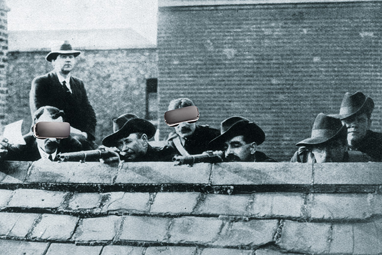 Easter Rising of 1916 image altered to show men wearing VR headsets