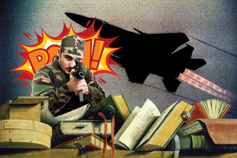 Montage of soldier, miltary plane and academic textbooks