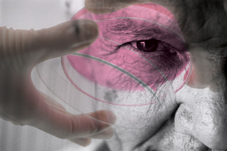 Petri dish superimposed over elderly person's face