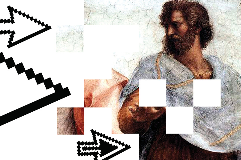 Pixelated painting of Plato