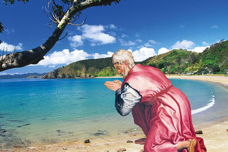 Praying at the beach