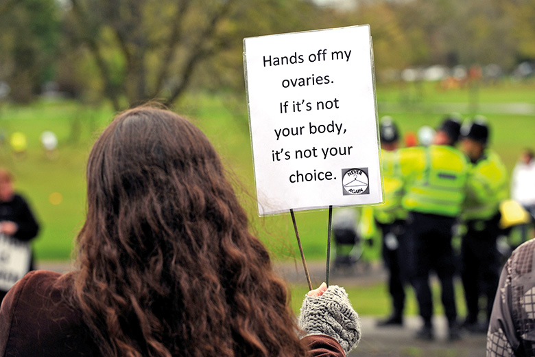 Pro-choice supporters hold demonstration against anti-abortion groups
