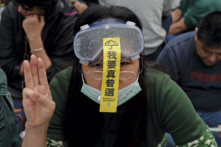 Pro-democracy demonstrator, Admiralty district, Hong Kong, 2014