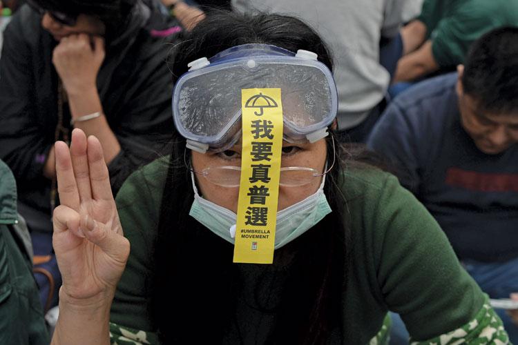 Pro-democracy demonstrator, Admiralty district, Hong Kong, 2014