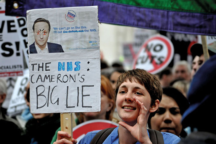Protest against government plans for the NHS
