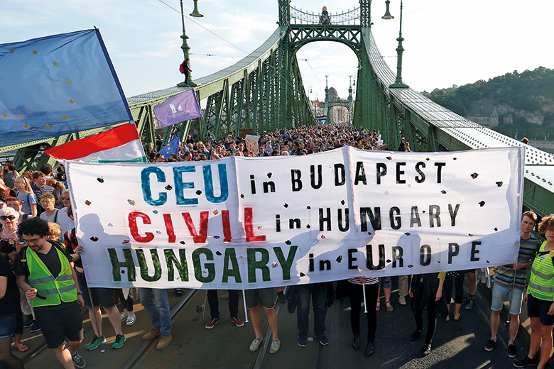 Protesters in Hungary