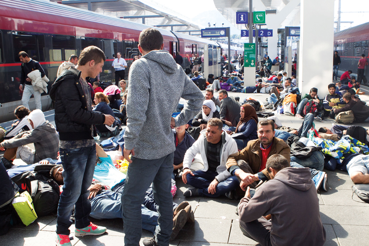 Refugees at Salzburg train station, Austria, 2015