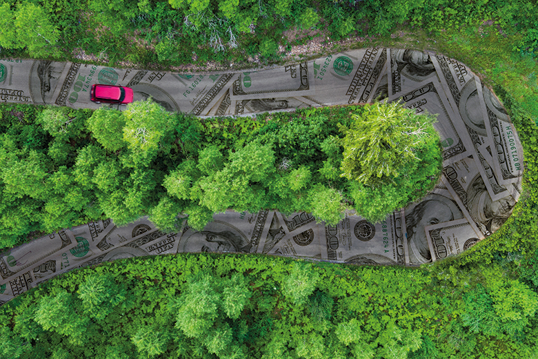 Aerial view of a winding road