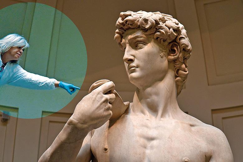 Scientist touching David