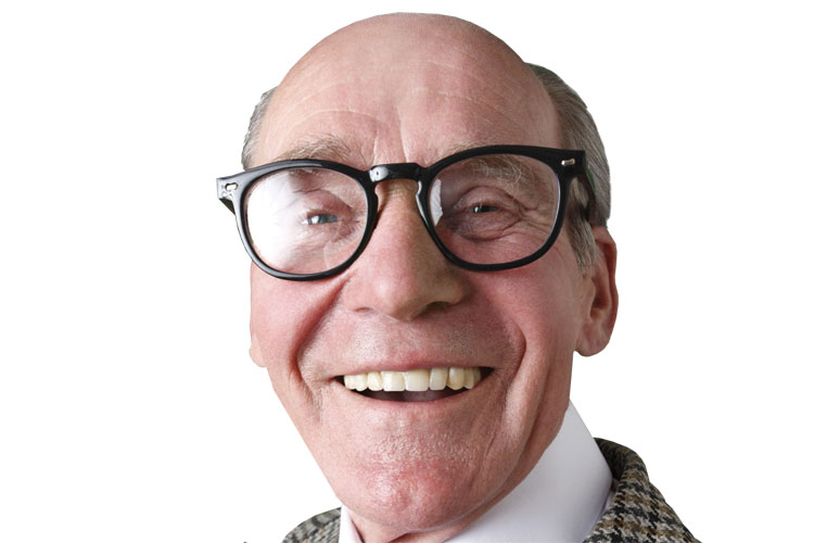 Smiling old man wearing glasses