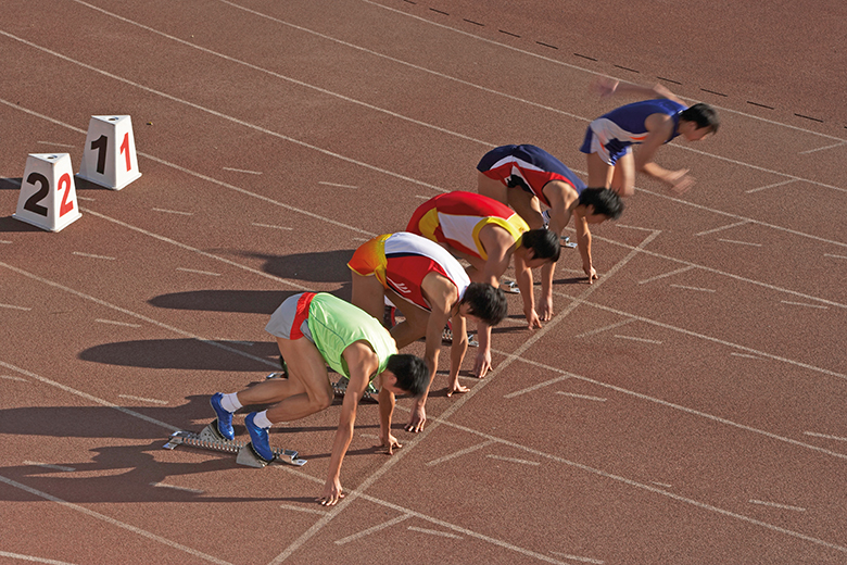 Sprinters at the start of a race