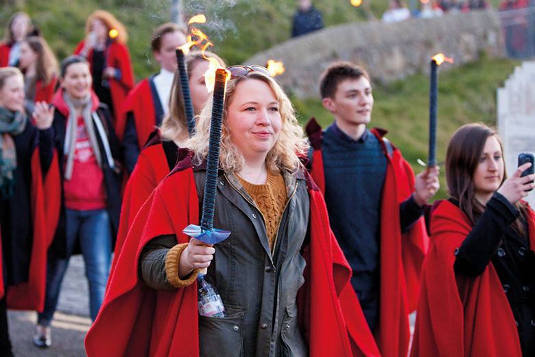 Students taking part in Gaudie torchlit walk-, University of St Andrews