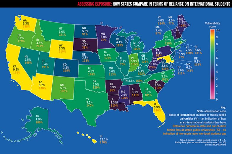 Map of the US showing how states compare in terms of reliance on international students