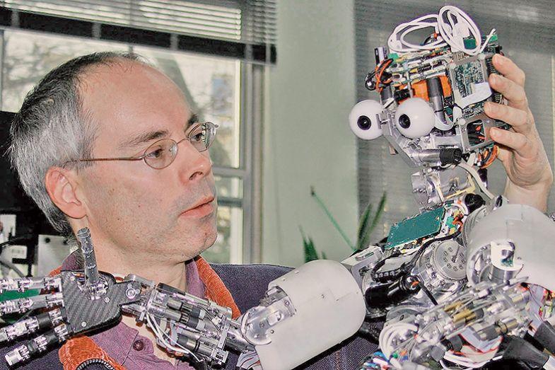 A man with a robot