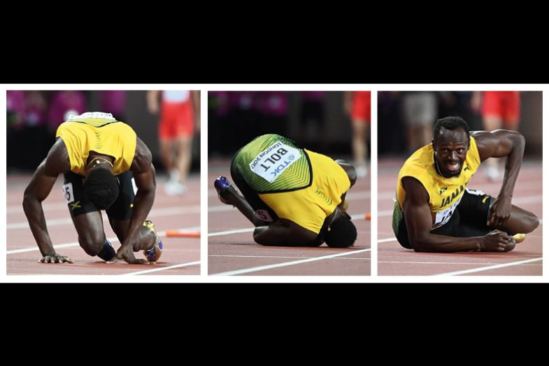 Usain Bolt falling