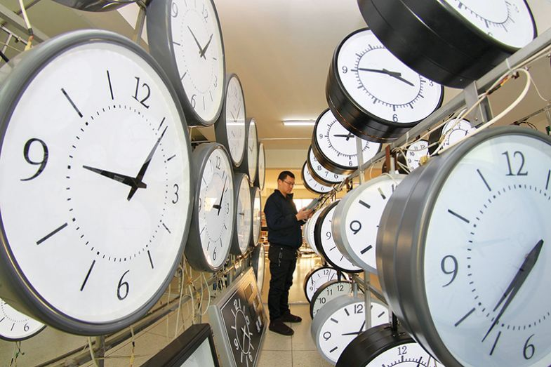 Man surrounded by clocks
