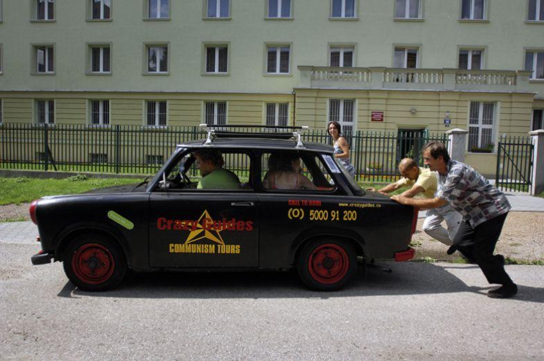 communism tour car push