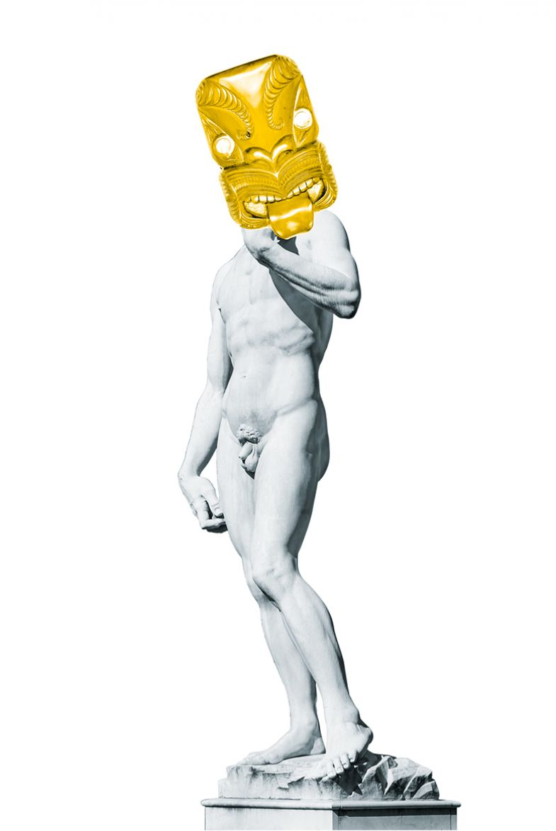 Michelangelo David with mask