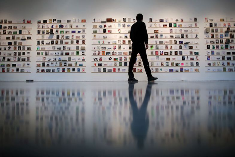 Man looking at exhibition