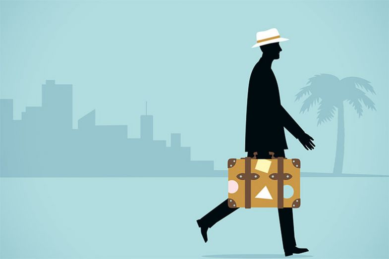 Illustration of man with suitcase