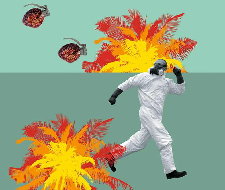 Illustration/photo montage of man running from hand grenades