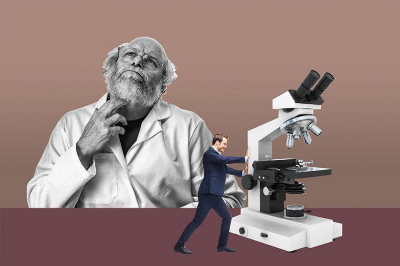 Scientist thinking montage