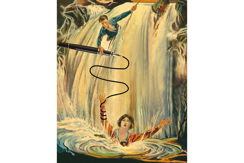 Montage of vintage movie poster for 'The Best Bad Man' of a drowning woman being rescued by a man with a pen